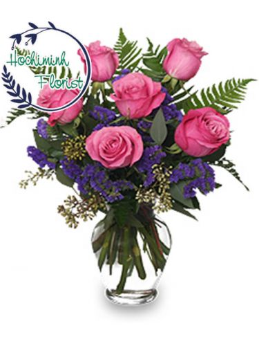 1 to 11 Pink Roses In A Vase