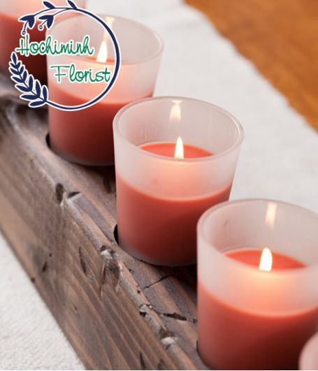 1 Pcs Red Candle In Glass