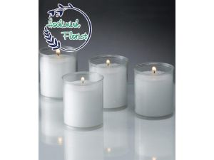 1 Pcs White Candle In Glass