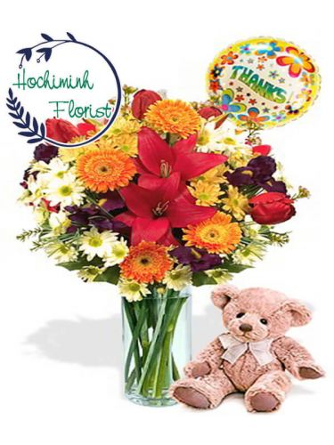 Mixed Flowers And Teddy