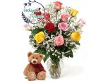 1 Dozen Colourful Roses With Teddy
