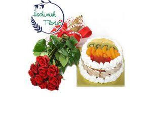 1 Dozen Roses And Cake