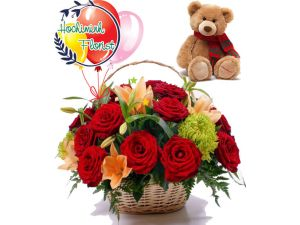 Roses Lilies Basket With Teddy And Balloons