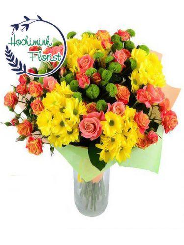 5 Dozen Mixed Gerberas And Roses In A Vase