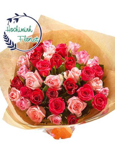 Five Dozen Mixed Roses In A Bouquet