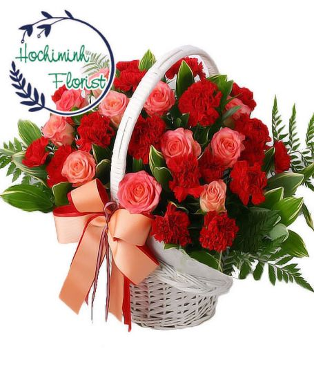 4 Dozen Red Carnations And Roses In A Basket