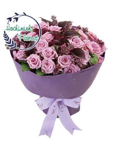 4 Dozen Purple Roses In A Bouquet