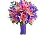 4 Dozen Pink Lilies In A Vase