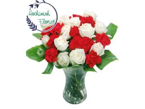 1 Dozen Red Carnations And Roses In  A Vase