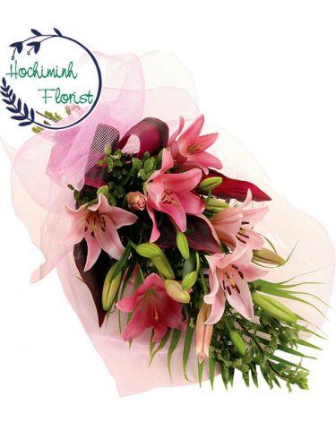 1 Dozen Pink Lilies In A Bouquet
