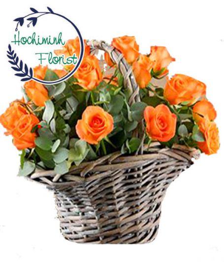 1 Dozen Orange Roses In Basket