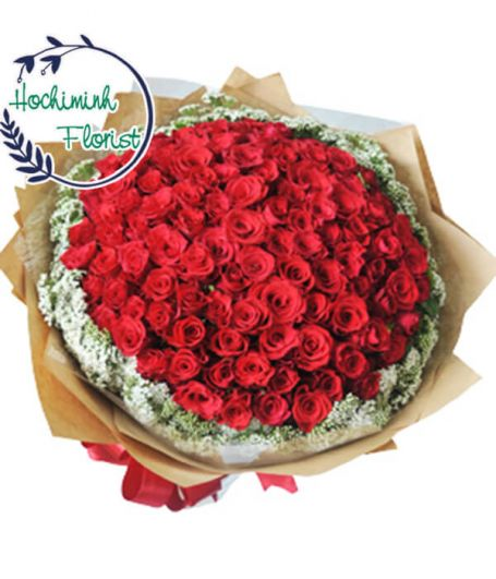 100 Red Roses In A Bouquet 554