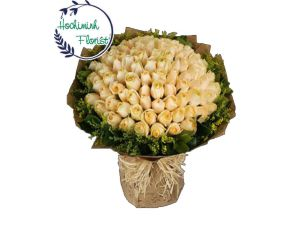 100 White Roses In A Bouquet