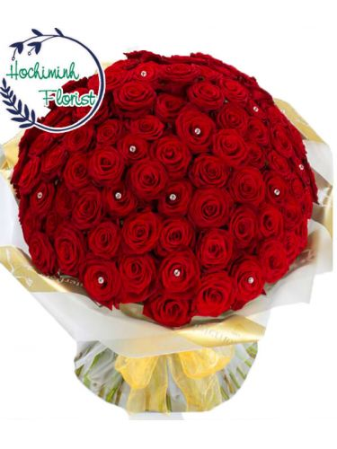 100 Red Roses In A Bouquet