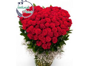 99 Red Roses In A Basket