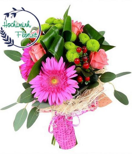 1 To 11 Pink Gerberas And Roses In A Bouquet