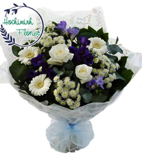 1 To 11 White Gerberas And Roses In A Bouquet