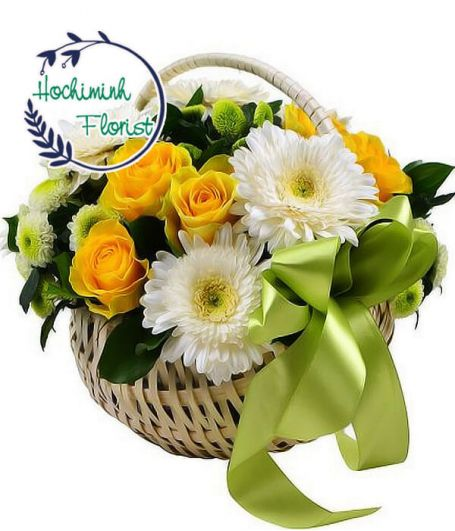 1 To 11 White Gerberas And Roses In A Basket