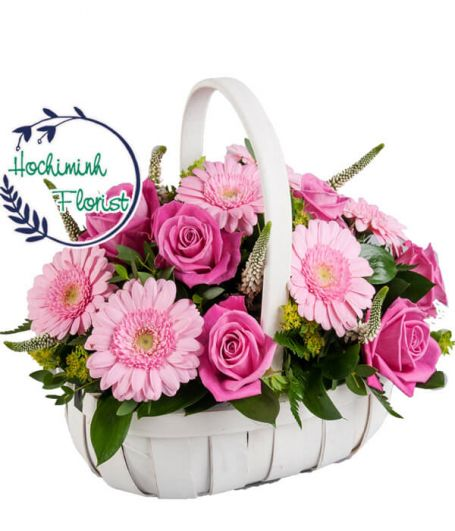 1 To 11 Pink Gerberas And Roses In A Basket