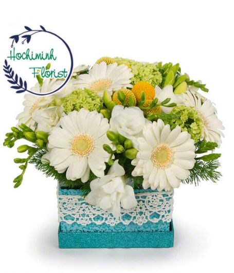 1 To 11 White Gerberas In A Box