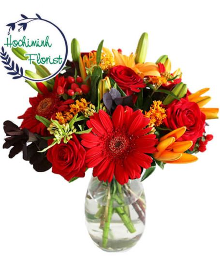 1 To 11 Red Gerberas And Roses In A Vase