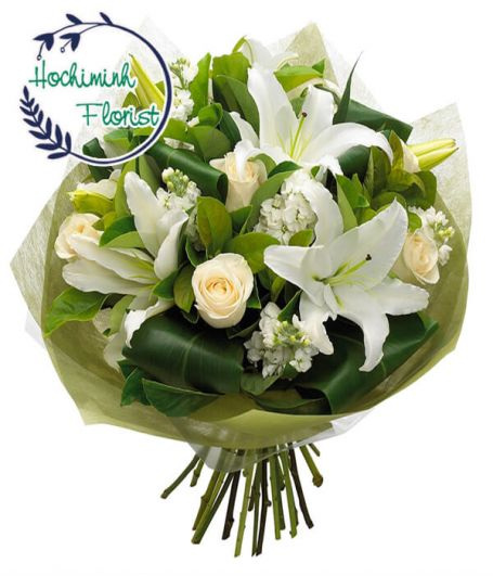 1 To 11 White Lilies And Roses In A Bouquet