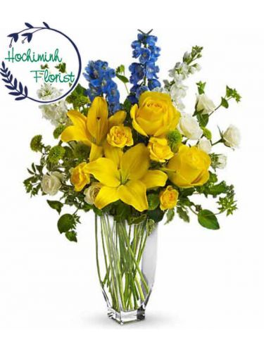 1 To 11 Yellow Lilies In A Vase