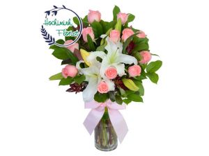 1 To 11 White Lilies And Roses In A Vase