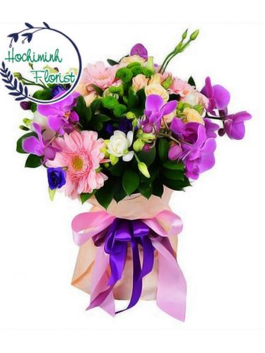 Purple Orchid In A Bouquet
