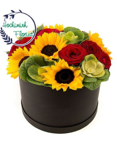 Sunflowers And Roses In A Box