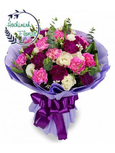 3 Dozen Mixed Carnations In A Bouquet