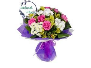 3 Dozen White Gerberas And Roses In A Bouquet