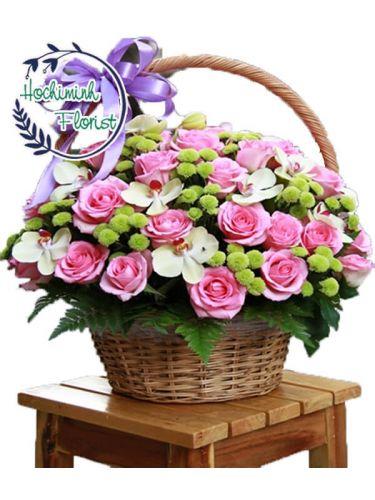 3 Dozen Pink Roses In A Basket