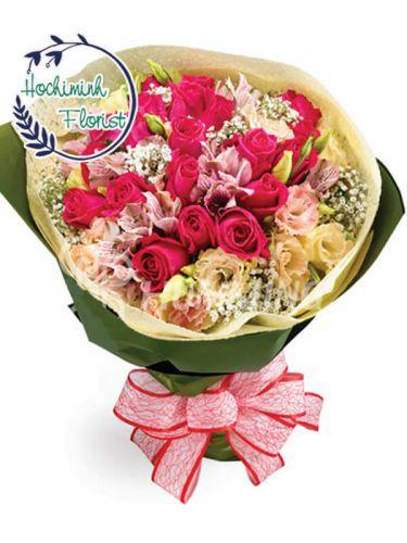 3 Dozen Pink Roses In A Bouquet