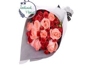 2 Dozen Mixed Roses In A Bouquet