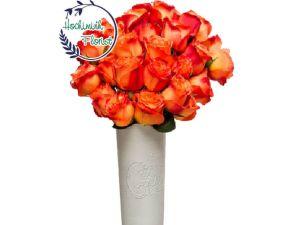 3 Dozen Orange Roses In A Vase