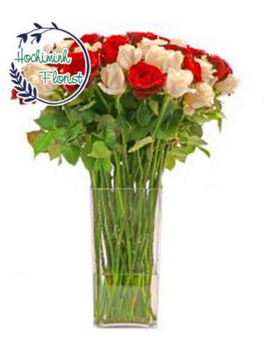 3 Dozen Mixed Roses In A Vase