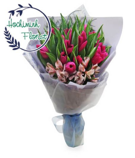 Pink Tulips In A Bouquet