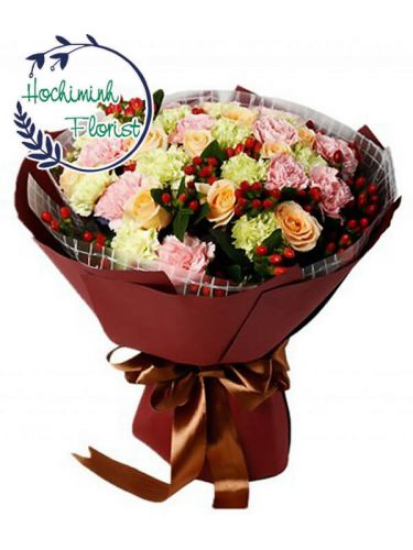 2 Dozen Mixed Carnations And Roses In A Bouquet