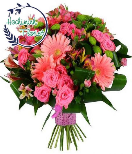 2 Dozen Pink Gerberas And Roses In A Bouquet