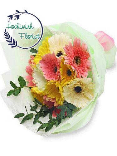 2 Dozen Mixed Gerberas In A Bouquet