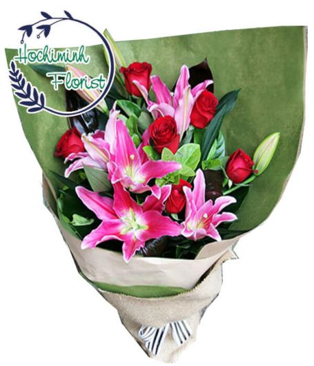 1 Dozen Pink Lilies and Red Roses In The Bouquet