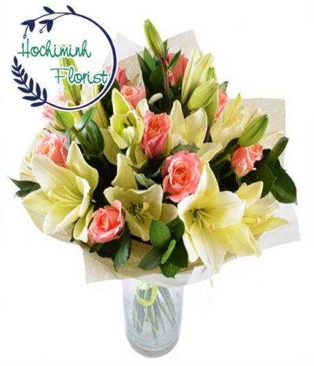2 Dozen Yellow Lilies And Roses In The Vase