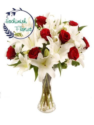 2 Dozen White Lilies And Roses In The Vase
