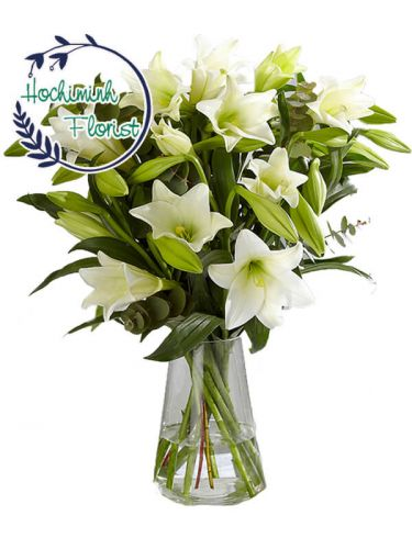 2 Dozen White Lilies In The Vase