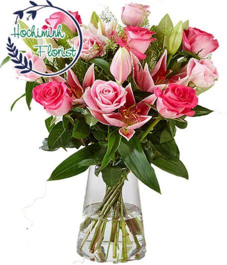 2 Dozen Pink Lilies In The Vase