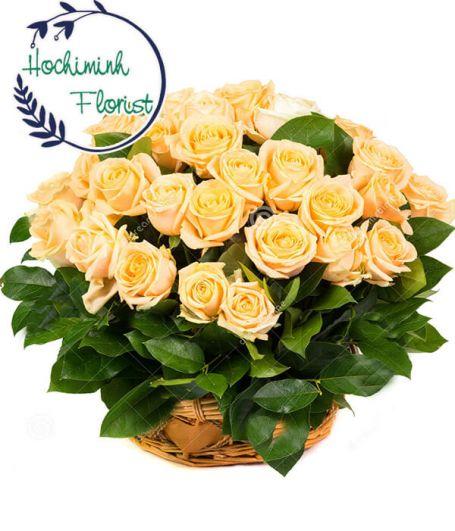 2 Dozen Orange Roses in A Basket