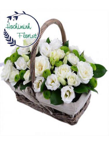 2 Dozen White Roses in A Basket