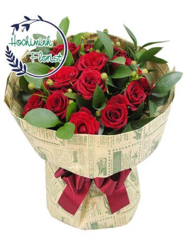 2 Dozen Red Roses in Bouquet