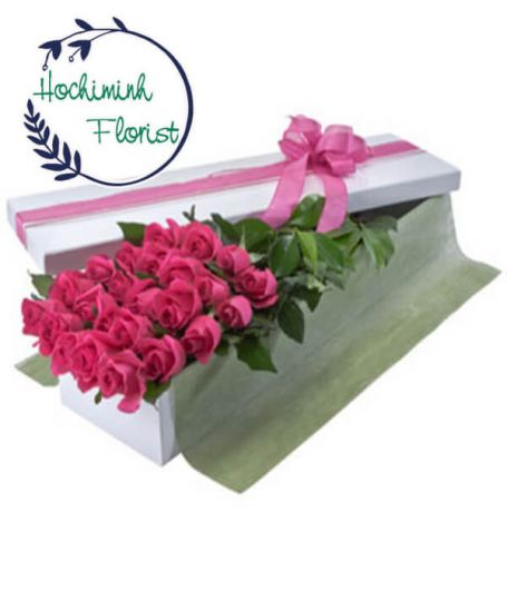 2 Dozen Pink Roses in A Box